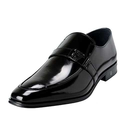 Versace Collection Men's Black Polished Leather Loafers Shoes US 9 IT 42;