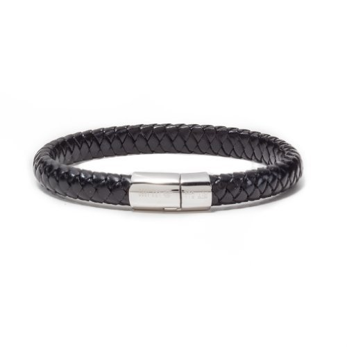 Tateossian Men's Leather Classic Cobra Bracelet with Silver Clasp, Large 19.5 cm - Black