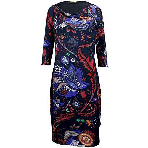 Roberto Cavalli Womens Cowl Neck Print Dress Black 48/12