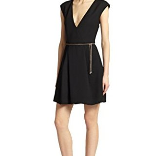 Roberto Cavalli Wool Plunging V-Neck Cap Sleeve Cocktail LBD Dress