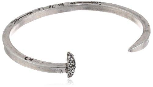"Giles & Brother Silver-Tone Skinny Railroad Spike Cuff Bracelet, 4.5"""