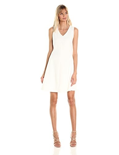 A|X Armani Exchange Women's V Neck Sleeveless Fit and Flare Dress, Snow, 8