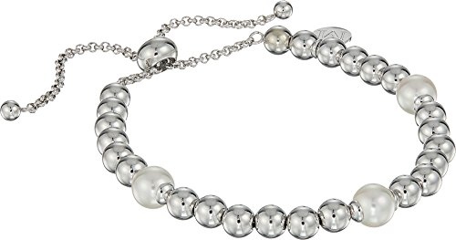 "Majorica Women's 8mm Round Pearls on Steel Beaded Bracelet 7-11.5"" White One Size"