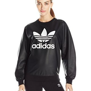 adidas Originals Women's Outerwear Trefoil Sweatshirt, Black, Medium