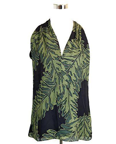 Gucci Women's Green Silk Leaf Printed Halter Top (Size 38)