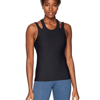 Trina Turk Recreation Women's Back Again Solid Sports Tank Top, Black, Extra Small