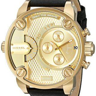 Diesel Men's Little Daddy Gold Black Leather Watch