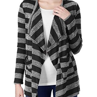 Regna X Boho for Woman Drape Hem Front Pockets for workblack Extra Large Stripe Open Front Cardigans with Pockets