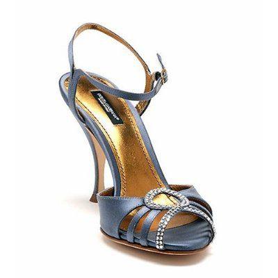 Dolce & Gabbana Blue Satin Strappy Crystal-Embellished Pumps (39 / 9 US, Blue)