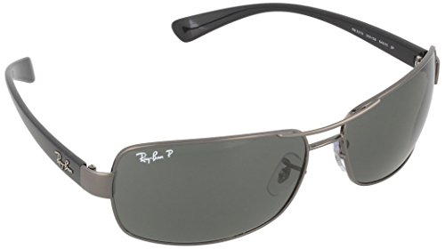 Ray-Ban Men's Polarized Rectangular Sunglasses, Gunmetal, 64 mm