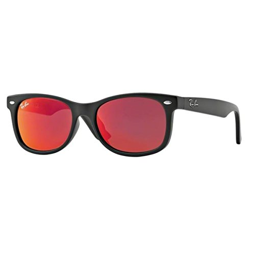 Ray-Ban Junior Square Sunglasses, Matte Black & Red Multilayer, 47 mm