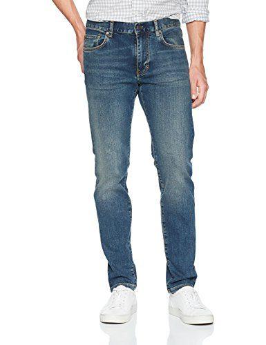 J.Lindeberg Men's Mid Wash Slim Fit Jeans, Dark Blue, 32/32