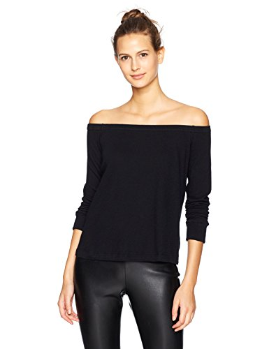 Enza Costa Women's Cashmere Jersey Long Sleeve Off The Shoulder Top, Black, M