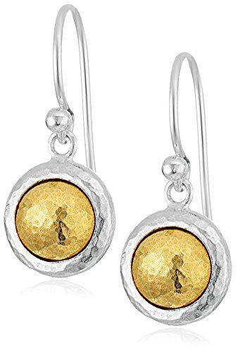 "GURHAN""Amulet"" Sterling Silver Round Vermeil Drop Earrings"