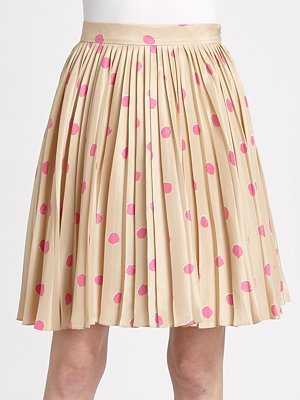 Kate Spade New York Melody Polka Dot Silk Pleated Skirt (6)