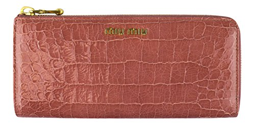 MIU MIU By PRADA Pink Embossed Crocodile Leather Continental Wallet