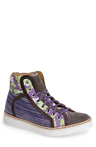 Robert Graham Men's Hizza HI Top Sneakers Blue 50587 (10.5)