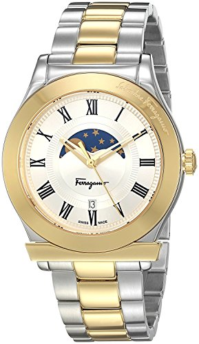 Salvatore Ferragamo two tone case, white dial, two tone bracelet