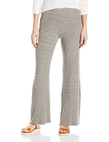 Enza Costa Women's Stretch Mock Twist Rib Wide Leg Pant, Heather Grey, M