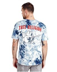 True Religion Men's Buddha Logo Short Sleeve Tee, Ocean Waves, L