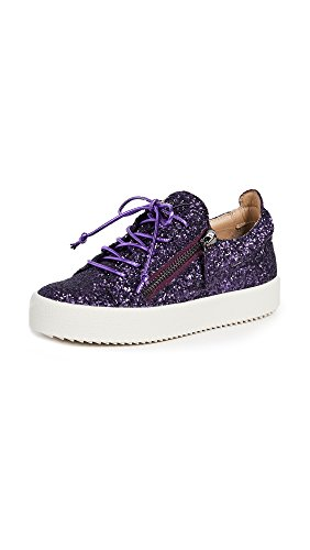 Giuseppe Zanotti Women's Side Zip Glitter Sneakers, Purple, 37 IT