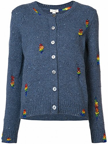 Marc Jacobs Rainbow Knit Beaded Small Cardigan Wool Sweater Blue S