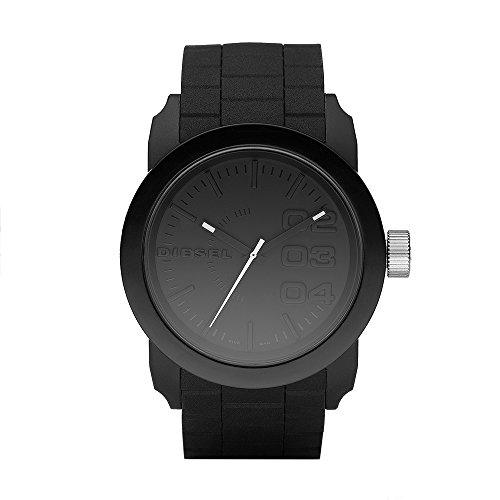 Diesel Men's Double Down Quartz Stainless Steel and Silicone Casual Watch, Color Black (Model: DZ1437)