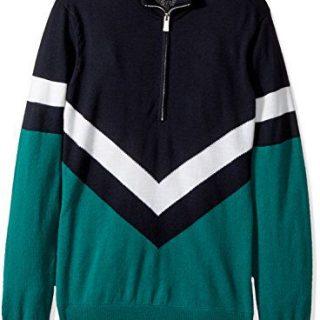 J.Lindeberg Men's Marten True Merino Sweater, Dk Green/Blue, L