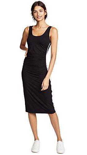 Enza Costa Women's Viscose Matte Jersey Tank Midi Dress, Black/White, S