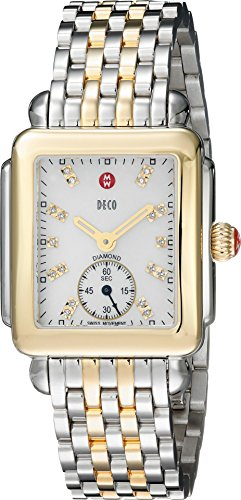 MICHELE Women's Deco 16 Diamond-Accented Stainless Steel Watch