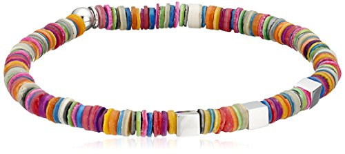Tateossian Seychelles Silver Multi-Colored Large Single Wrap Bracelet