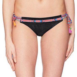 Nanette Lepore Women's Side Tie Hipster Bikini Swimsuit Bottom, Black/Cha Cha Cha, Large