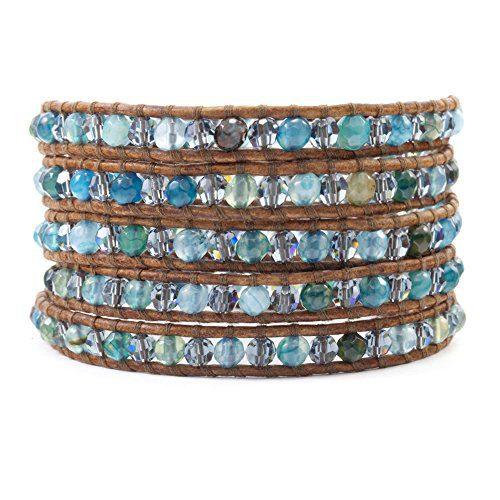 Chan Luu Aqua Fire Agate Wrap Bracelet/Natural Brown Leather