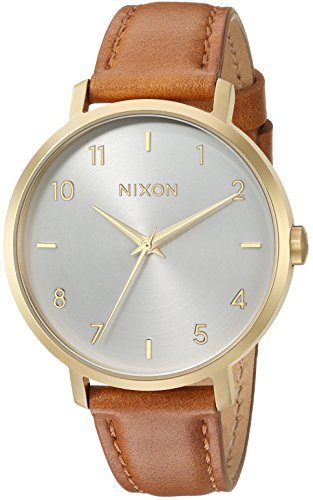 Nixon Women's 'Arrow Leather' Quartz Stainless Steel Casual Watch, Color:Brown