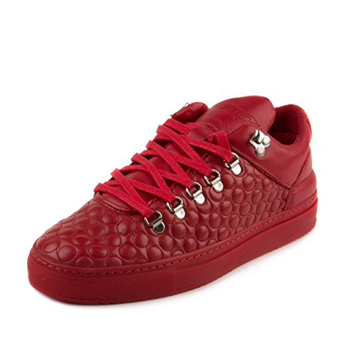"""Filling Pieces Mens Mountain Cut AW15 """"Quilted Circles Red"""" Red Leather Size 39"""
