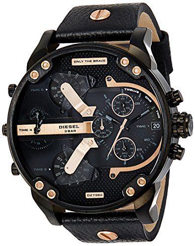 Diesel Men's DZ7350 Mr Daddy 2.0 Black Ip Black Leather Watch