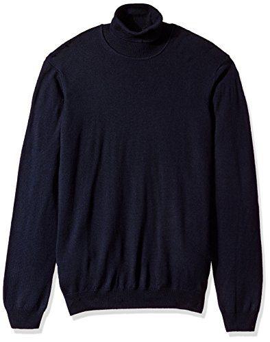 J.Lindeberg Men's Merino Wool High Neck Sweater, Navy, Large