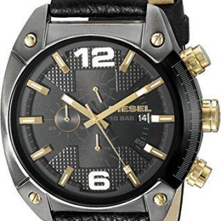 Diesel Men's Overflow Gunmetal Black Leather Watch