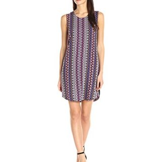A|X Armani Exchange Women's Scoop Neck Sleeveless Printed Mini Dress, Multi, 4
