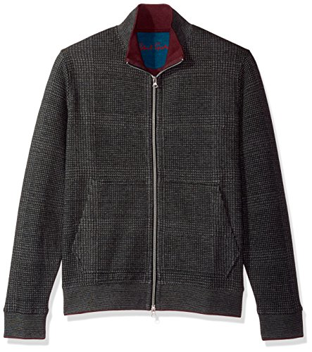 Robert Graham Men's Hyde Park Long Sleeve Knit Full Zip, Heather Charcoal, 2XLARGE