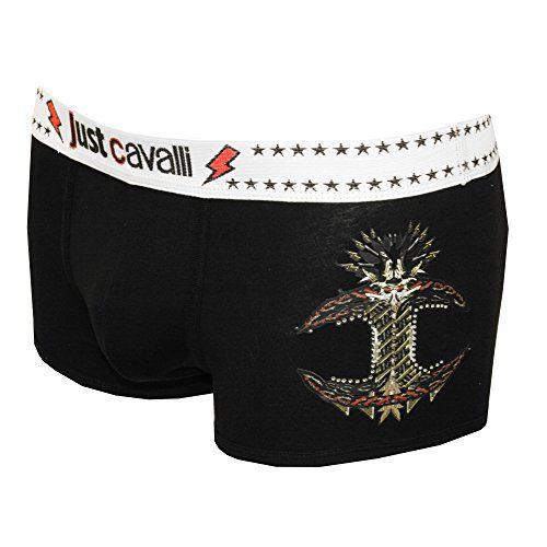 Just Cavalli JC Rockstar Graphic Logo Men's Boxer Trunk, Black X-Large Black with contrast white