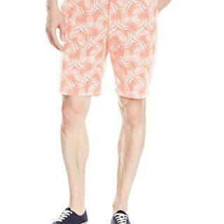 Original Penguin Men's 9 inch Palm Printed Short Slim, Coral Almond, 36
