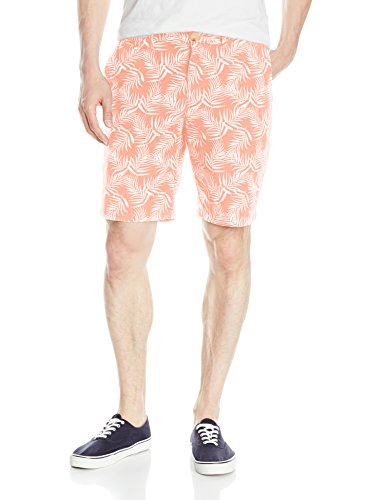 Original Penguin Men's 9 inch Palm Printed Short Slim, Coral Almond, 36