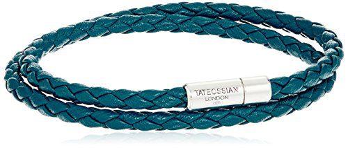 Tateossian Silver Octane Scoubidou Double Teal Medium Bracelet