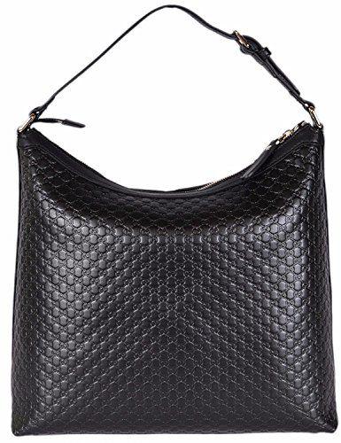 Gucci Women's Micro GG Guccissima Leather Hobo Handbag (Black/449732)