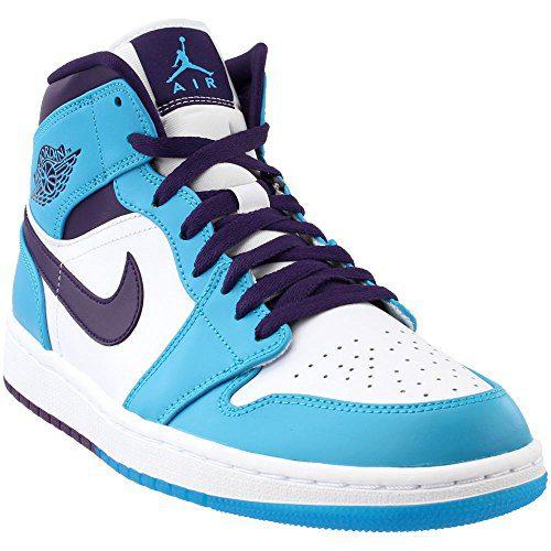 Jordan: Retro 1 Mid Mens White/Blue Sneaker (12 D(M) US Men)