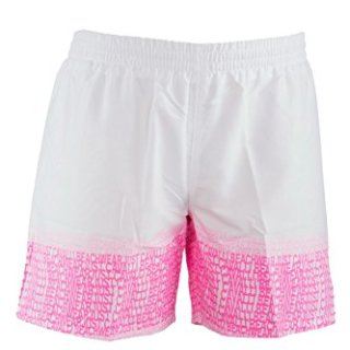 Just Cavalli Men White & Pink Logo Pattern Beach Board Shorts Swim Trunks XS US EU 46