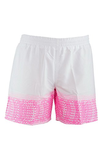 Just Cavalli Men White & Pink Logo Pattern Beach Board Shorts Swim Trunks XS US EU 46