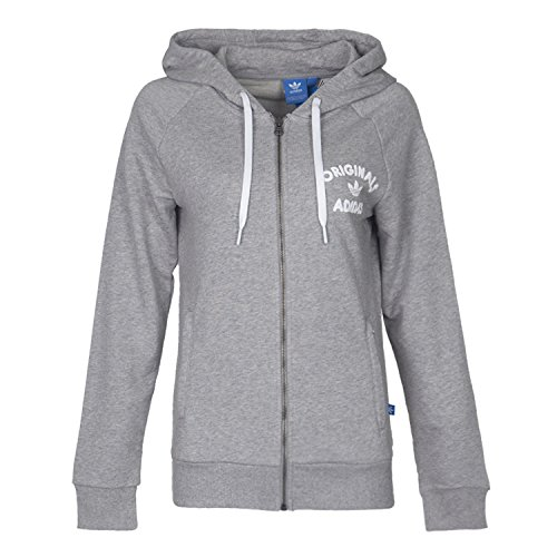 adidas Originals Women's Full Zip Fashion Hoodie (Large, Medium Grey Heather)