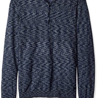 John Varvatos Men's Henley Sweater, Steel Blue, Large